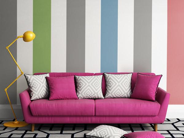 Wohnzimmer streichen streifen inspiration for Farbige wandgestaltung wohnzimmer