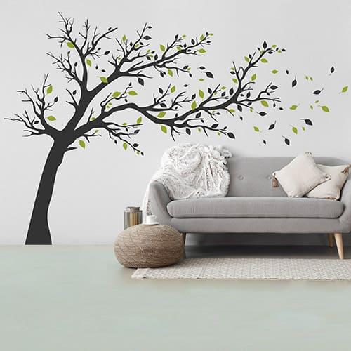 Wandtattoo Baum mit wehenden Blättern