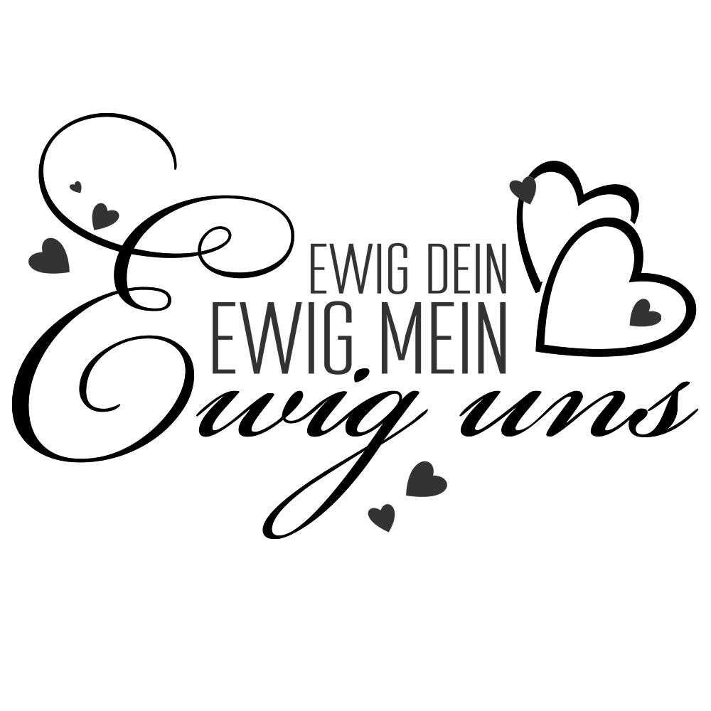 wandtattoo ewig dein ewig mein ewig uns mit herzen zweifarbigvon designscape ebay. Black Bedroom Furniture Sets. Home Design Ideas