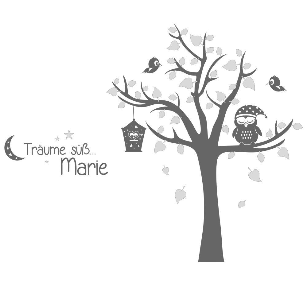Babyzimmer deko eule  Wandtattoo Träume süß mit Name Eule und Baum - Babyzimmer Deko von ...
