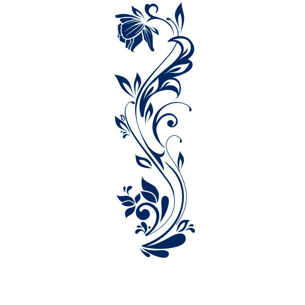 Wandtattoo dekorative blumenranke blumenornament mit for Wandtattoo blumenranke