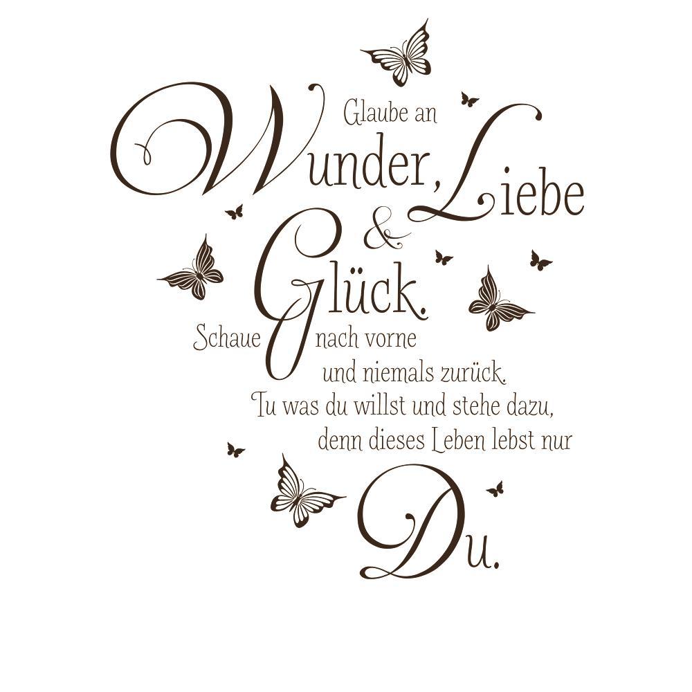 Wandtattoo Glaube an Wunder, Liebe und Glück. Schaue nach vorne von ...
