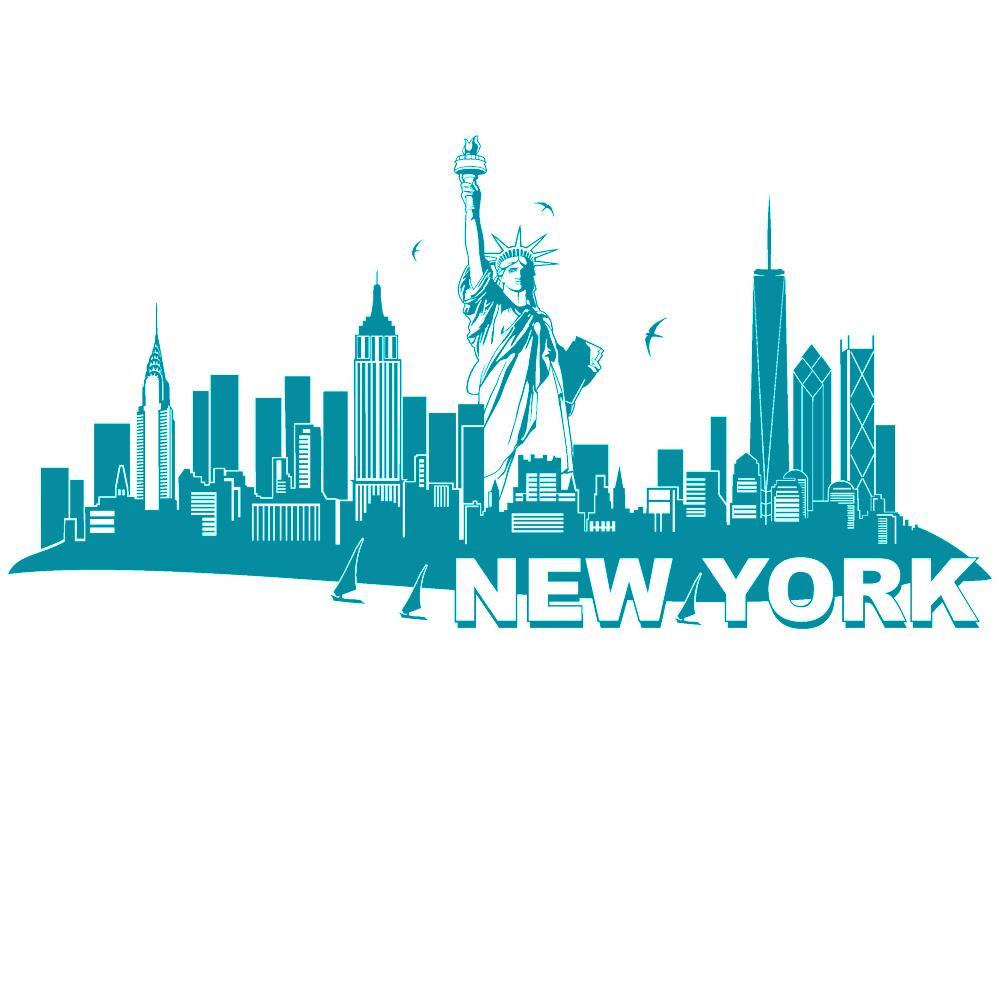 Gewaltig Wandtattoo New York Galerie Von Wandtattoo-new-york-skyline-mit-freiheitsstatue-von-designscape