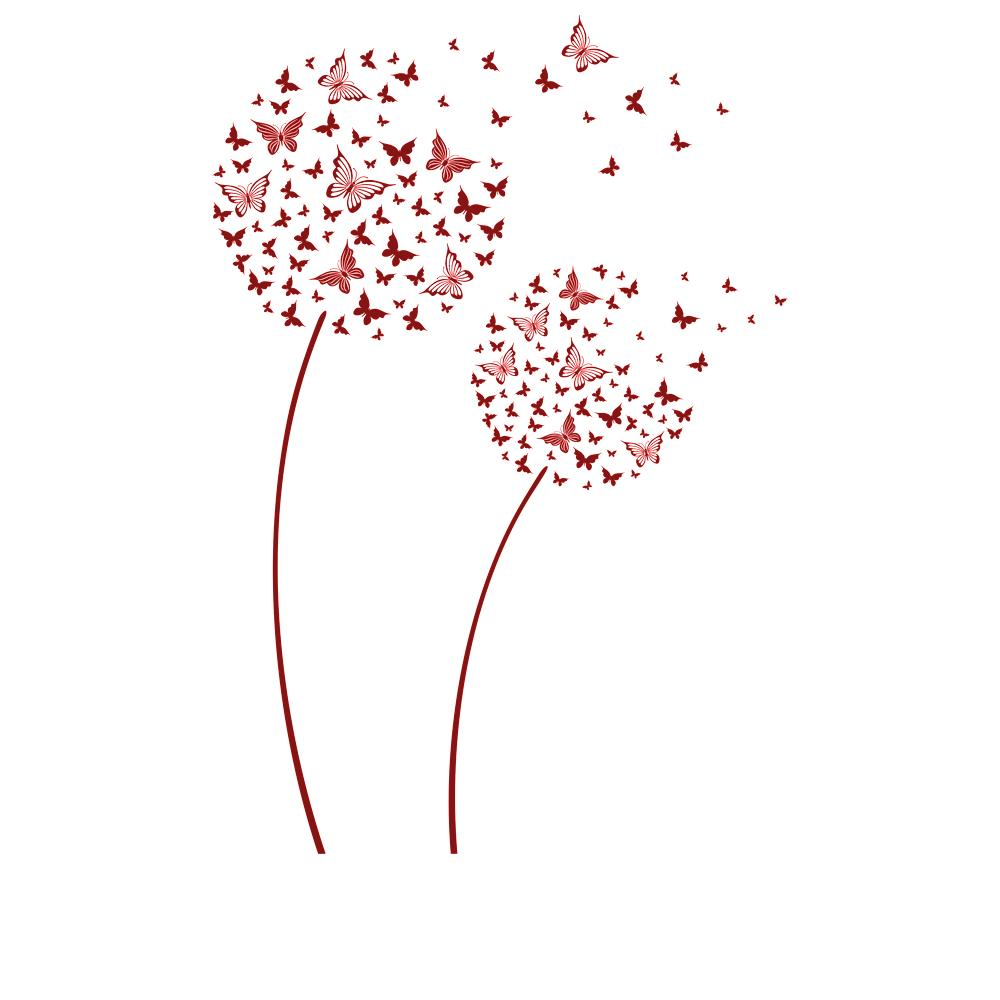 Wandtattoo pusteblumen aus schmetterlingen blumen deko - Wandtattoo pusteblume schmetterling ...