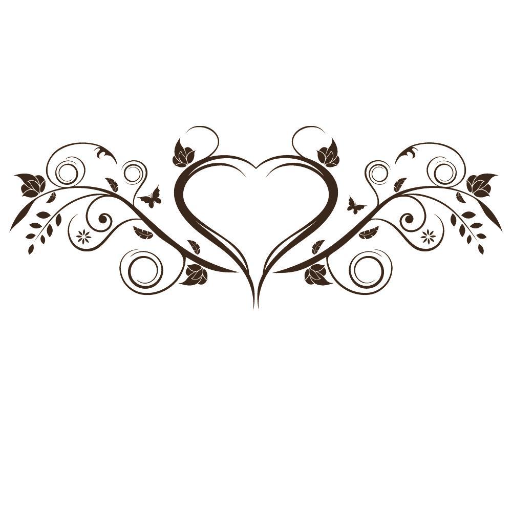 Wandtattoo Romantisch Geschwungenes Ornament Mit Herz Blattern Von