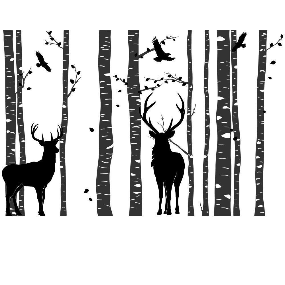 designscape wandtattoo wald mit hirschen zweifarbiger
