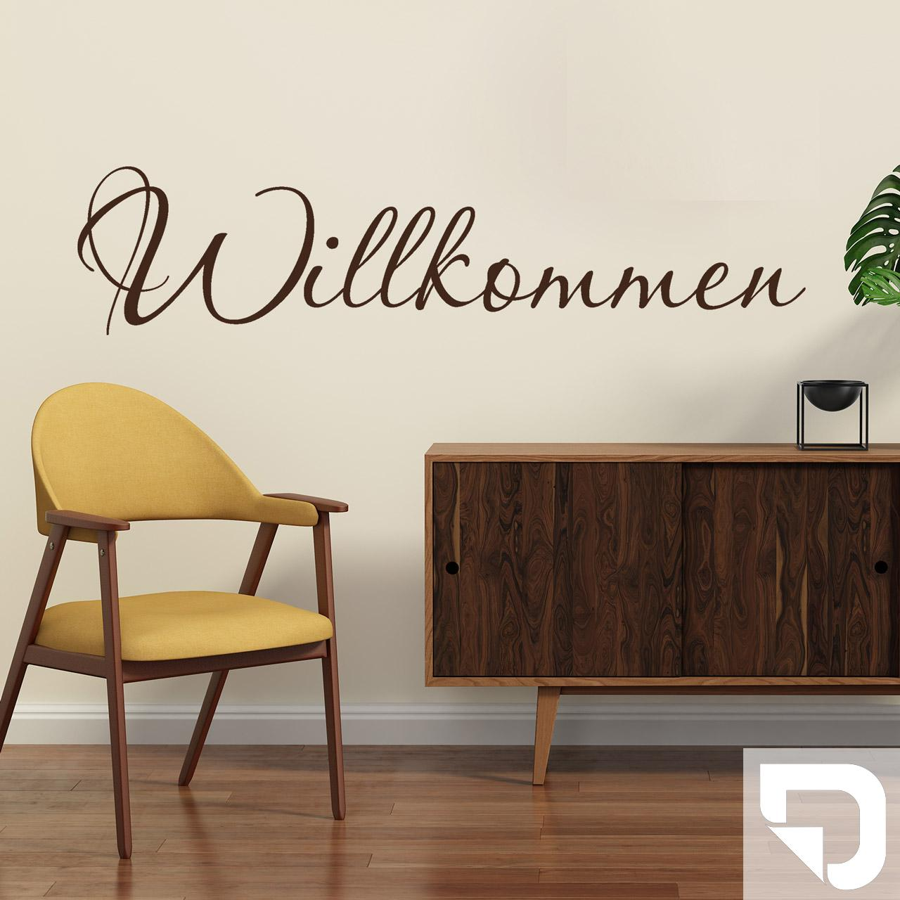 wandtattoo willkommen schriftzug als dekoration f r den flur von designscape ebay. Black Bedroom Furniture Sets. Home Design Ideas