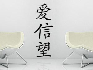 chinesische zeichen und schriften als wandtattoo wandtattoo de. Black Bedroom Furniture Sets. Home Design Ideas