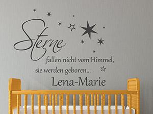 Babyzimmer wandtattoos s e motive mit babynamen for Wandtattoo babyzimmer spruche