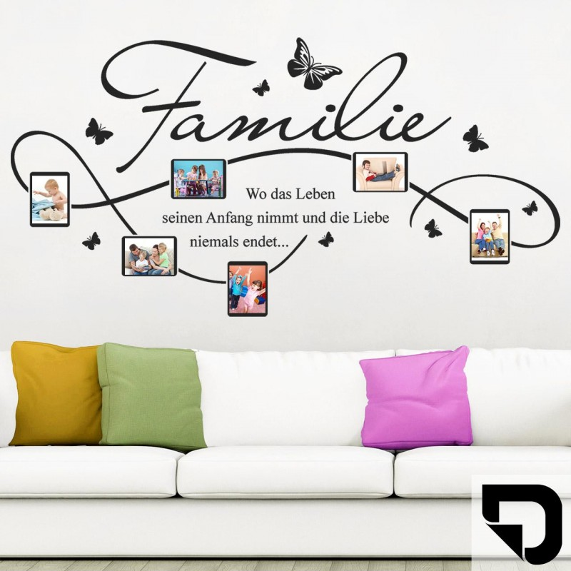 wandtattoo bilderrahmen familie mit 6 fotorahmen designscape ebay. Black Bedroom Furniture Sets. Home Design Ideas
