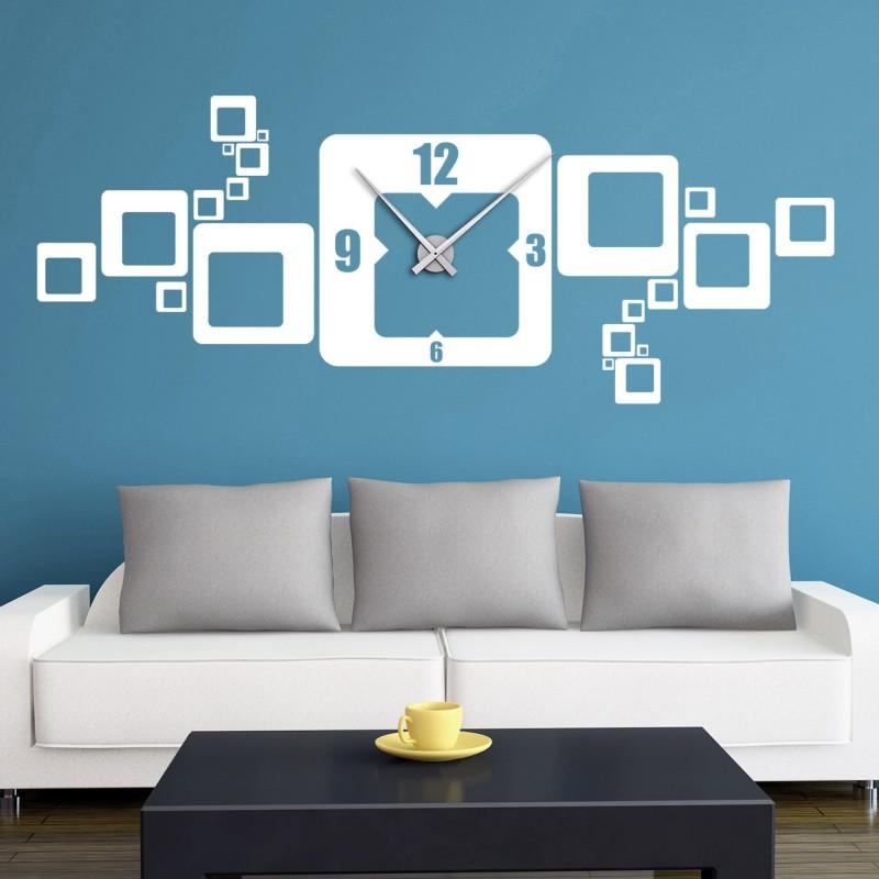 wandtattoo uhr quadrate retro cubes wanduhr mit uhrwerk designscape ebay. Black Bedroom Furniture Sets. Home Design Ideas