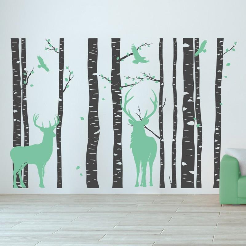 designscape wandtattoo wald mit hirschen zweifarbiger wandtattoo wald ebay. Black Bedroom Furniture Sets. Home Design Ideas