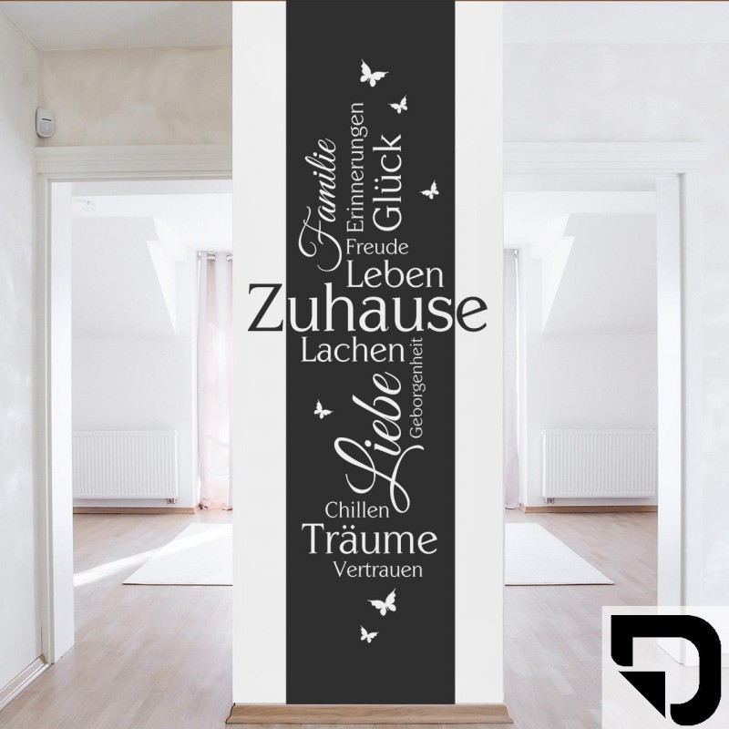 wandtattoo zuhause banner familie erinnerungen gl ck freude von designscape ebay. Black Bedroom Furniture Sets. Home Design Ideas