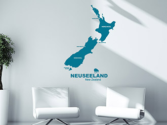Reise Wandtattoo Neuseeland in Farbe