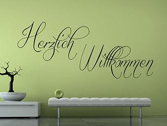 Wandtattoo Dekoratives Herzlich Willkommen