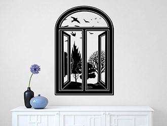 Wandtattoo vintage fenster mit ausblick von - Fenster mit aussicht ...