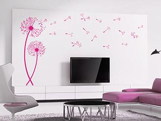 pusteblumen wandtattoos | pusteblume als wanddeko | wandtattoo.de - Wohnzimmer Weis Pink