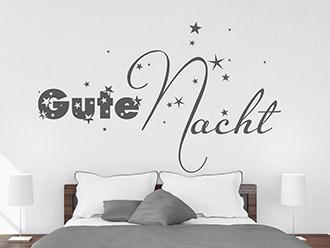 Wandtattoo Gute Nacht mit Sternen