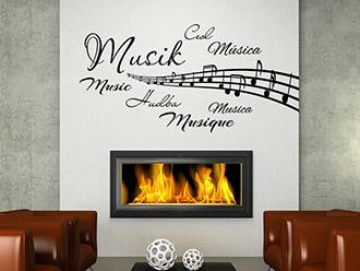 Wandtattoo Wortwolke Musik