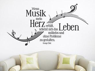 Wandtattoo Wenn Musik Mein Herz.