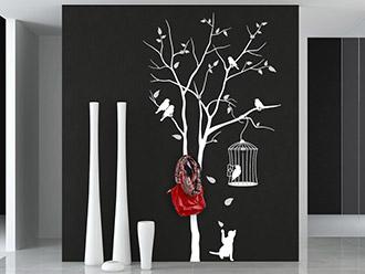 Garderobe Baum Mit Vogelkäfig
