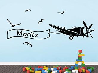 Wandtattoo Flugzeug mit Name