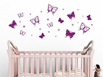 Wandtattoo Schmetterlinge mit Sternen