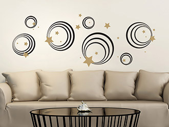 Wandtattoo Ornament Kreise und Sterne
