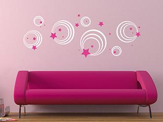 Retro Wandtattoo Ornament Kreise Und Sterne In Weiß Und Pink