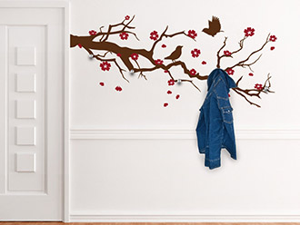 Garderobe Ast mit Kirschblüten