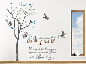 Foto Wandtattoo Baum Mit Fotorahmen Und Sprichwort Auf Heller Wandfläche