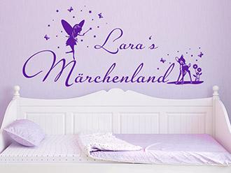 Wandtattoo Märchenland mit Wunschname