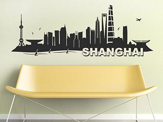 Shanghai Skyline als Wandtattoo