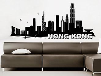 Skyline von Hongkong als Wandtattoo