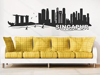 Skyline von Singapur als Wandtattoo