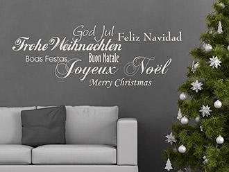 Wandtattoo Frohe Weihnachten in 7 Sprachen