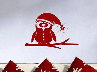 Wandtattoo Eule mit Weihnachtsmütze