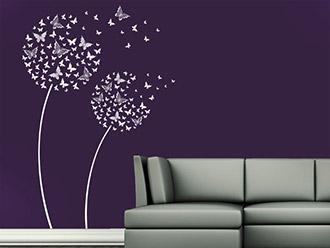 Wandtattoo Blüten Schmetterlinge
