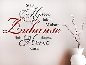 Wandtattoo Zuhause in 9 Sprachen