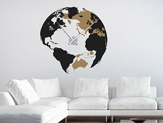 Wandtattoo Uhr Weltkugel