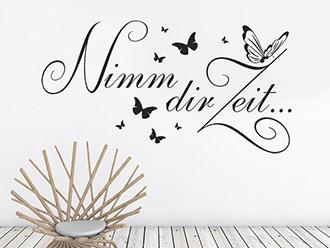 Wandtattoo Nimm dir Zeit Schmetterlinge