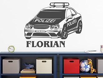 Wandtattoo Polizeiauto mit Wunschname