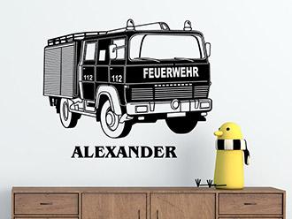 Wandtattoo Feuerwehrauto mit Wunschname