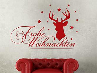 Wandtattoo Frohe Weihnachten mit Hirsch