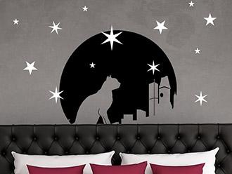 Wandtattoo Mond mit Katze und Sternen