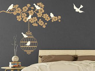 Wandtattoo Kirschblütenast mit Käfig und Vögeln