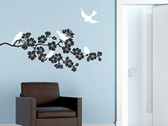 Wandtattoo Blühender Zweig mit Vögeln