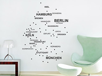 Wandtattoo Städte Deutschlandkarte