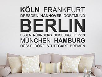 Wandtattoo Deutsche Großstädte