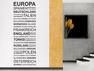 Wandtattoo Europa Länder